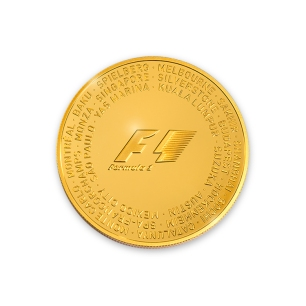 Front of gold coin with all 21 Formula 1 circuit names